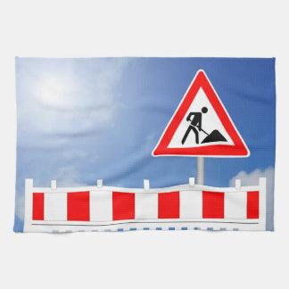 Baustelle, Baustellenabsperrung und Baustellenschi Geschirrtuch