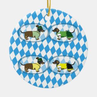Bayerische Dackelpaare Rundes Keramik Ornament