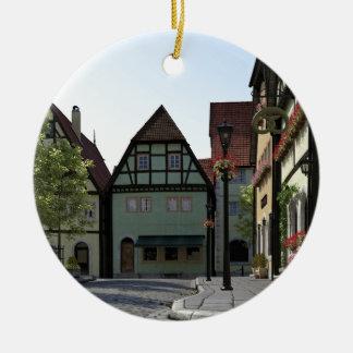 Bayerische StadtStraßenecke-Szene Rundes Keramik Ornament