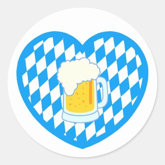 Bayern Bavaria Herz Bier heart beer Runder Aufkleber