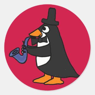 BB Pinguin in einem Smoking, das Runde Aufkleber