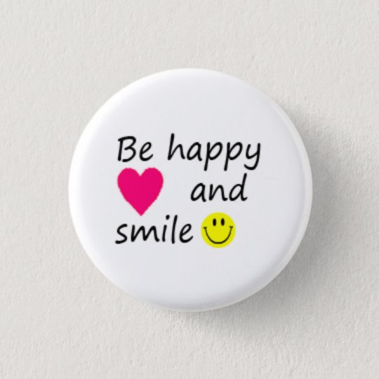 Be happy runder button 2,5 cm