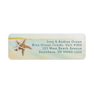 Beach Sunset Starfish Coastal Address Labels Rückversand-Adressaufkleber