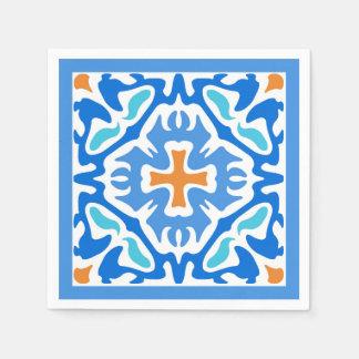 Beachy blaues abstraktes mit orange Akzent Serviette