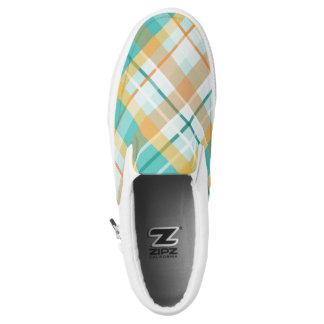 beachy Hipstertürkis und Goldkarierter Tartan Slip-On Sneaker