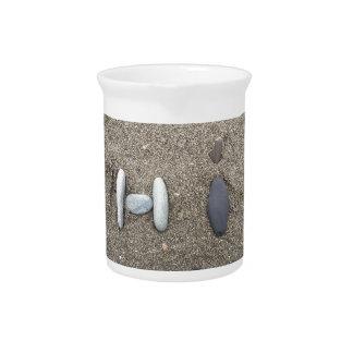 Beachy Kunst-Sand-Felsen-hallo einfaches Krug