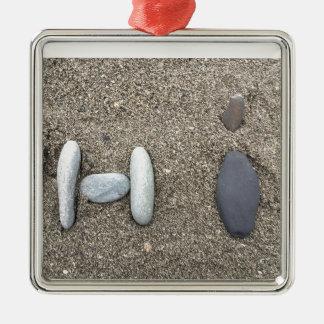 Beachy Kunst-Sand-Felsen-hallo einfaches Silbernes Ornament