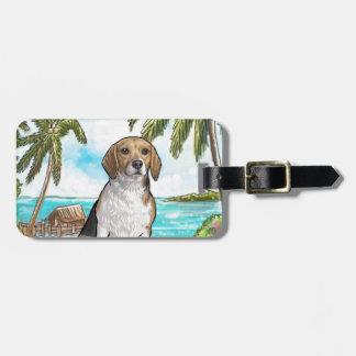 Beagle auf Ferien-tropischem Strand Gepäckanhänger