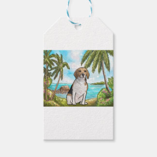 Beagle auf Ferien-tropischem Strand Geschenkanhänger