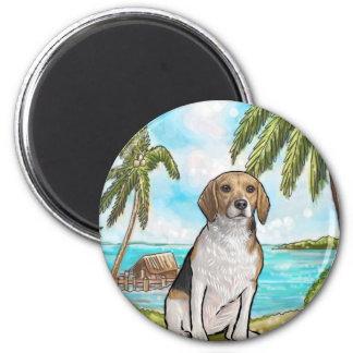 Beagle auf Ferien-tropischem Strand Runder Magnet 5,1 Cm