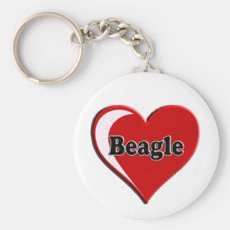 Beagle auf Herzen für Hundeliebhaber Schlüsselanhänger
