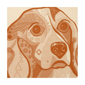 BEAGLE Brown-Töne Holzdruck