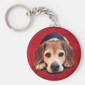 Beagle-feine Kunst-Hundekunst-Malerei Schlüsselanhänger