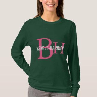 Beagle-Geländeläufer Zucht-Monogramm-Entwurf T-Shirt
