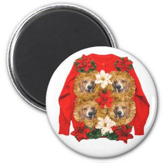 Beagle-hässliche Weihnachtsstrickjacke Runder Magnet 5,7 Cm