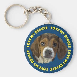 Beagle-Hundeporträt, Liebe mein Beagle Schlüsselanhänger