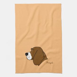 Beagle Kopf Silhouette Geschirrtuch