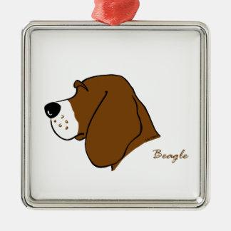 Beagle Kopf Silhouette Quadratisches Silberfarbenes Ornament