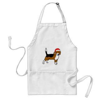 Beagle mit Weihnachtsmannmütze Schürze