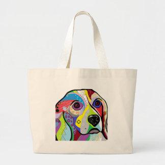 Beagle-Nahaufnahme Jumbo Stoffbeutel