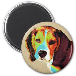 Beagle-Pop-Kunst Runder Magnet 5,7 Cm