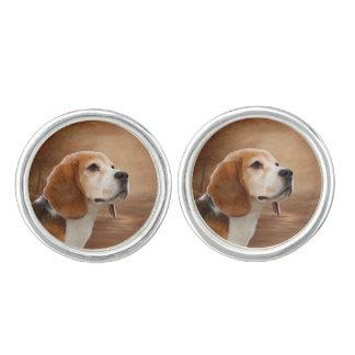 Beagle-runde Manschettenknöpfe, versilbern Manschetten Knöpfe