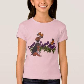 Beagle-Schmetterlings-Blumen-niedliches T-Shirts