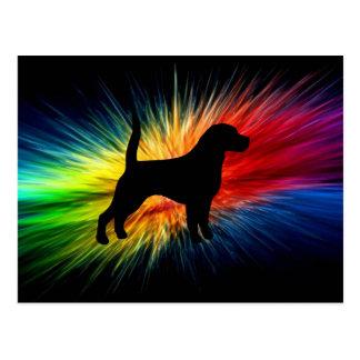 Beagle-Silhouette auf Regenbogen burst.png Postkarte