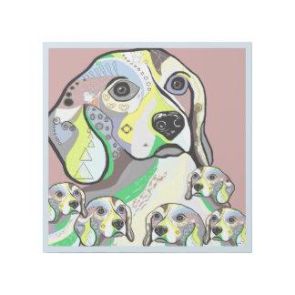 Beagle und Baby-weiche Farbpalette Galerieleinwand