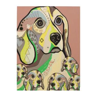 Beagle und Baby-weiche Farbpalette Holzleinwand