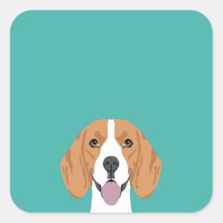 Beagleaufkleber Quadratischer Aufkleber