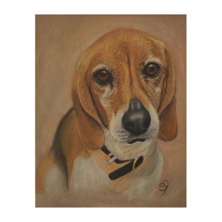 Beaglehundegrafik-Haustierporträt Holzdruck