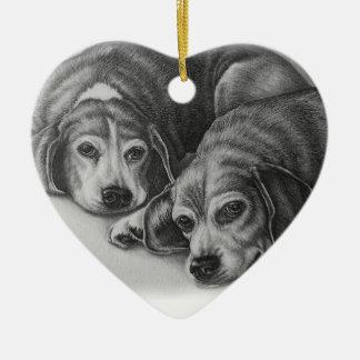 Beagles, die Hundetier-Kunst zeichnen Keramik Ornament