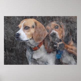 Beagles, welche heraus die schmutzige Sturm-Tür Poster