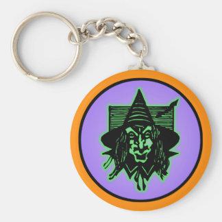 Beängstigende Halloween-Hexe Schlüsselanhänger