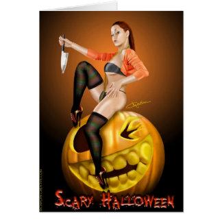 Beängstigende Halloween-Karte des Pinupmädchen Grußkarte
