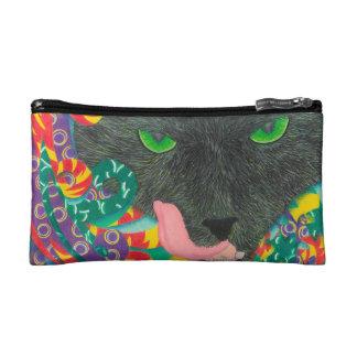 Beängstigende schwarze Katze der kosmetischen Makeup-Tasche