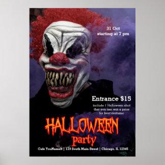 Beängstigender Clown Halloweens Poster
