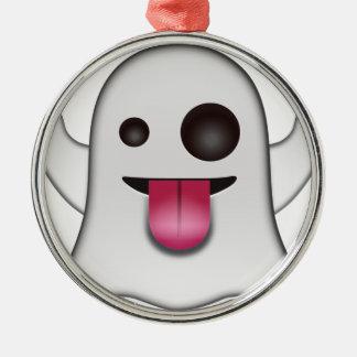 Beängstigender Geist Emoji cooler Spaß Silbernes Ornament