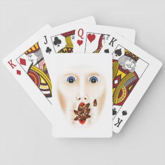 Beängstigender Gesichts-Schaben-Mund-beängstigende Pokerdeck