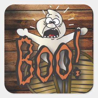 Beängstigender Halloween-Geist, der Boo schreit Quadratischer Aufkleber