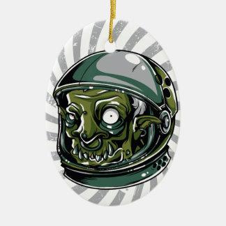 beängstigendes Gesicht des Vintagen Zombies Ovales Keramik Ornament