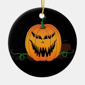 Beängstigendes Halloween-Kürbis-Gesicht Keramik Ornament