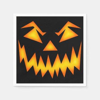 Beängstigendes Kürbislaterne-Gesicht Papierserviette