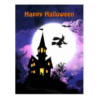 Beängstigendes Spuk Haus glückliches Halloween Postkarte