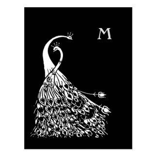 Beardsley Pfau-Paar-Monogramm-Postkarte Postkarte