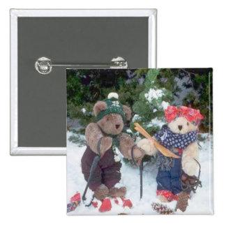 Bearly Skifahrer Quadratischer Button 5,1 Cm