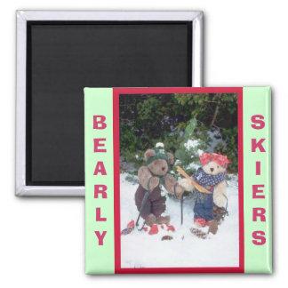 Bearly Skifahrer Quadratischer Magnet