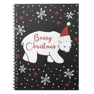 Beary WeihnachtsWeihnachtsmannmütze-polarer Bär Spiral Notizblock