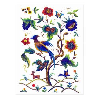 Beautful Jacobean Paradiesvogel Stickerei Postkarte